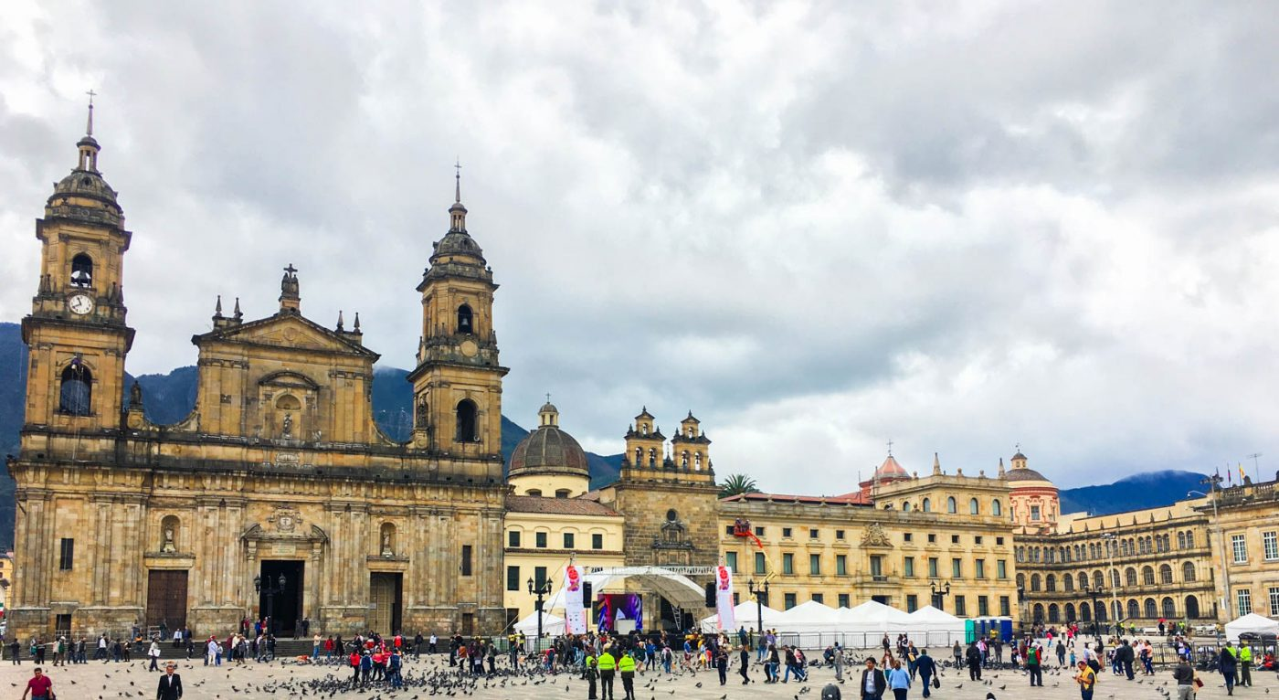 the main plaza in candalaria in bogota, a great place to visit when travelling colombia