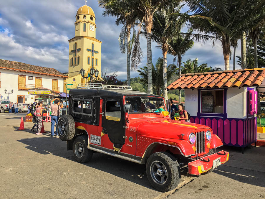 a willy (jeep( for transport in the town of salento colombia