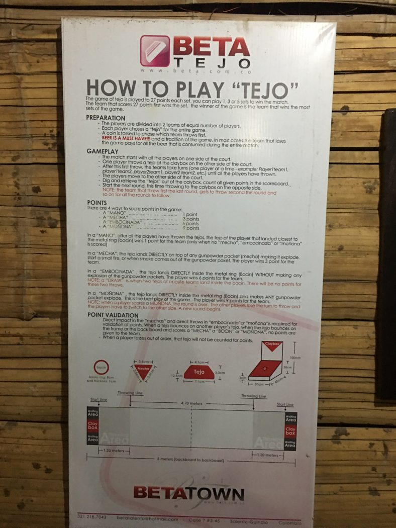 rules for how to play tejo game when backpacking colombia