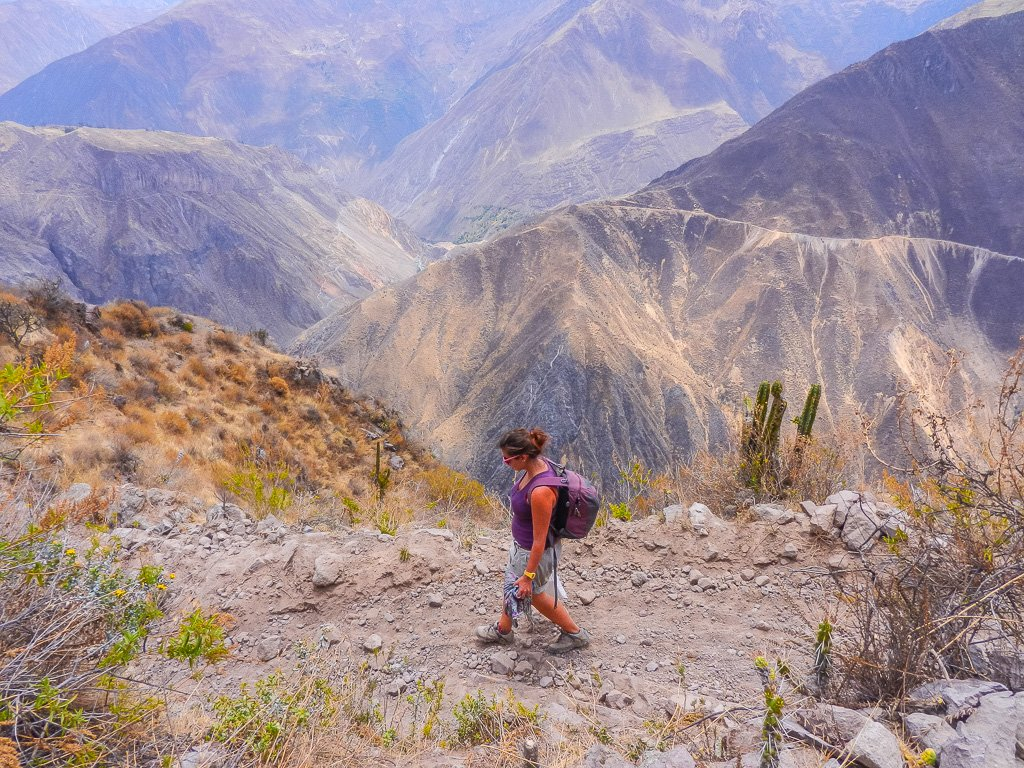 travel in your 30's Shelley exploring the Colca Canyon, Peru