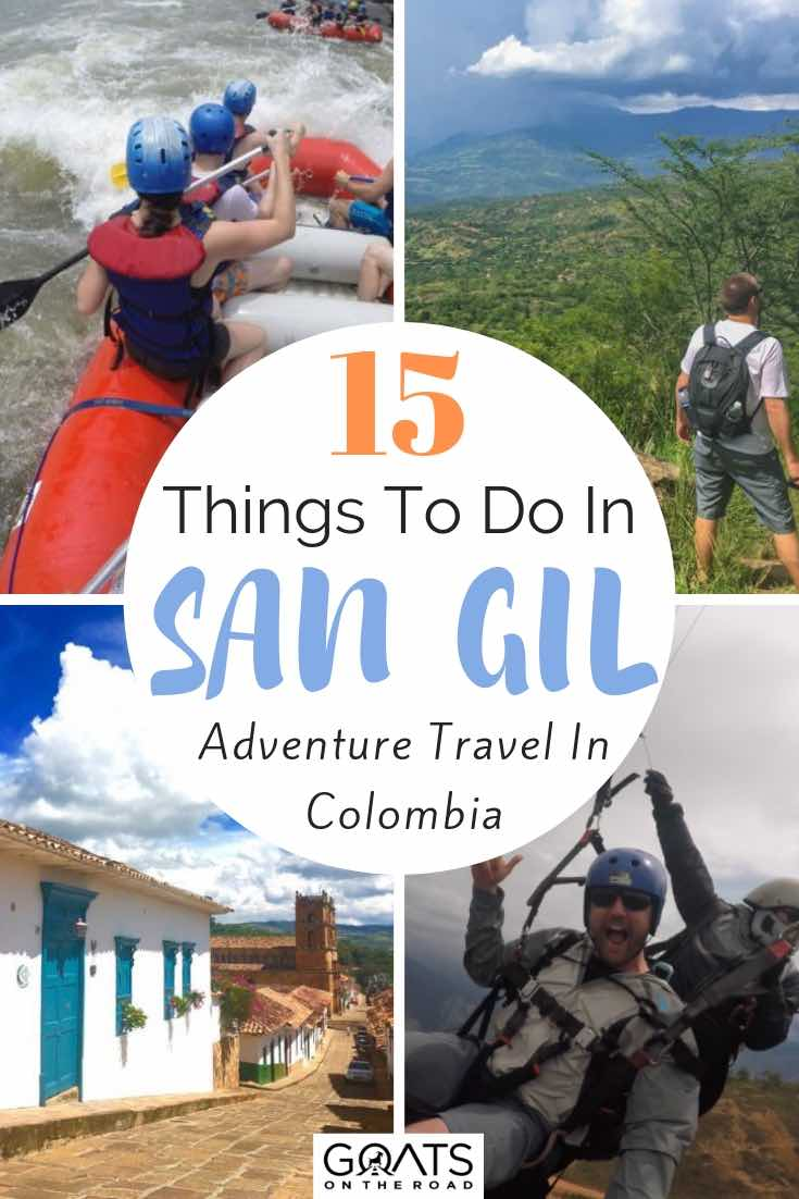 rafting and paragliding with text overlay 15 things to do in san gil