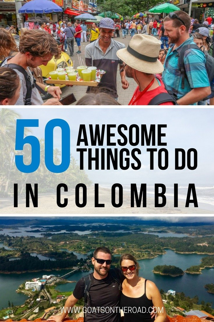 Colombia sightseeing with text overlay 50 Awesome Things To Do in Colombia