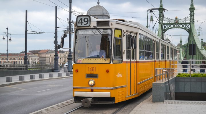public tram in budapest, hungary