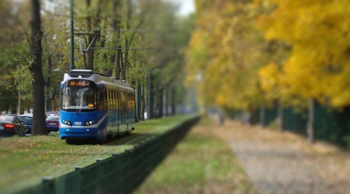 tram car in krakow, poland