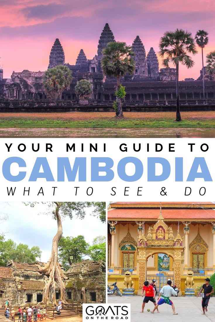 sunset over temples with text overlay your mini guide to cambodia