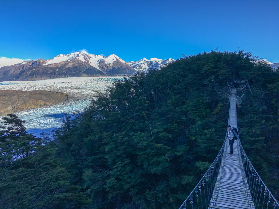 trekking torres del paine o trek in patagonia suspension bridge