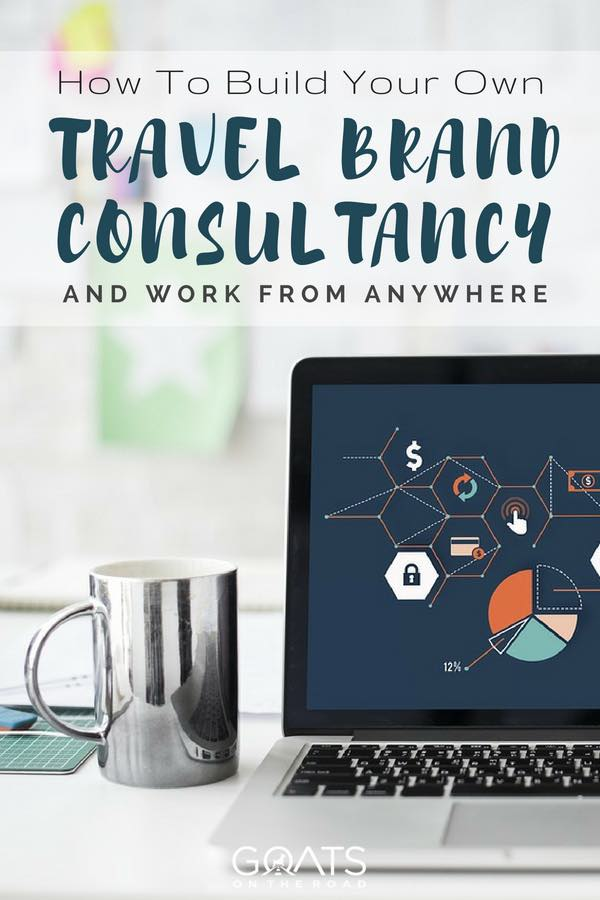 Laptop and mug on desk with text overlay How To Build Your Own Travel Brand Consultancy