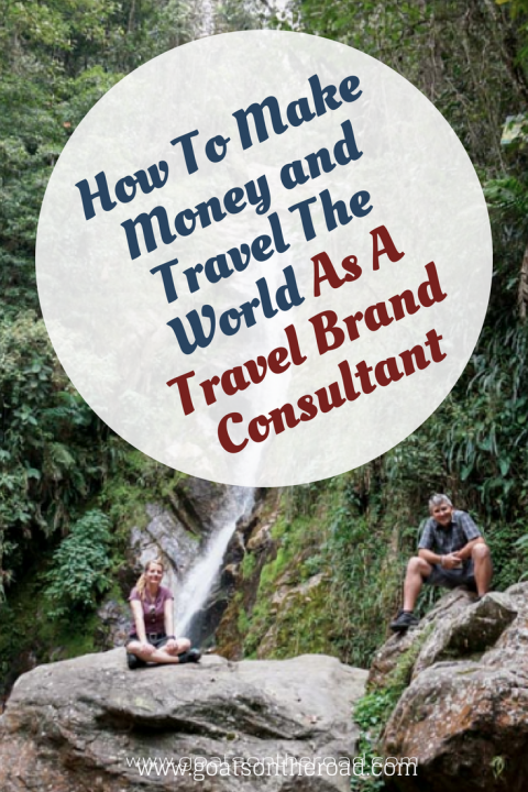 Waterfall in jungle with text overlay How To Make Money And Travel The World As A Travel Brand Consultant