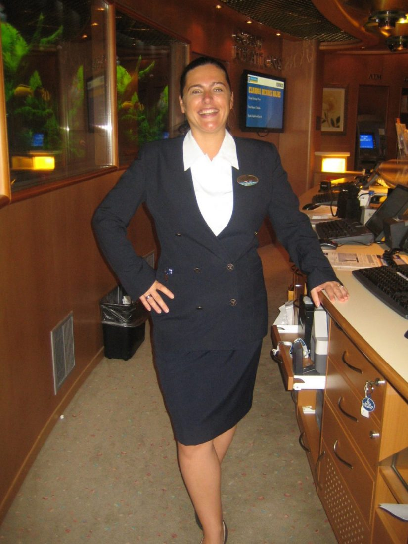working as a guest service officer on a cruise ship to make money for travel