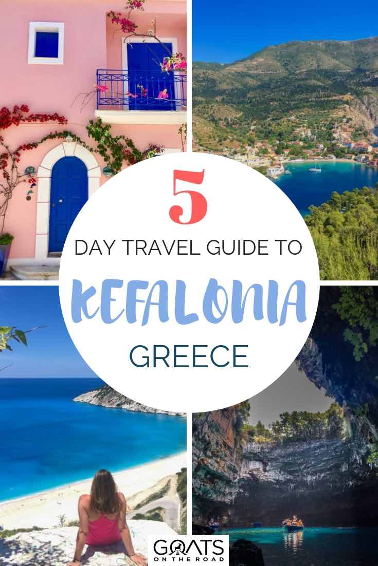 Beaches and architecture in Kefalonia Greece with text overlay