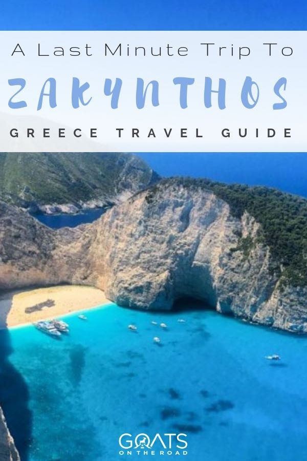 shipwreck beach in Zakynthos Greece with text overlay