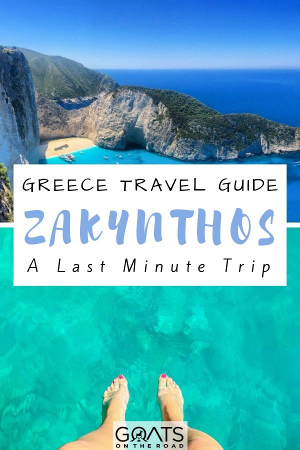 turquoise water in Zakynthos Greece with text overlay