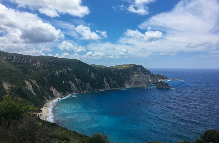 travel to kefalonia greece Petani Beach on a cloudy day