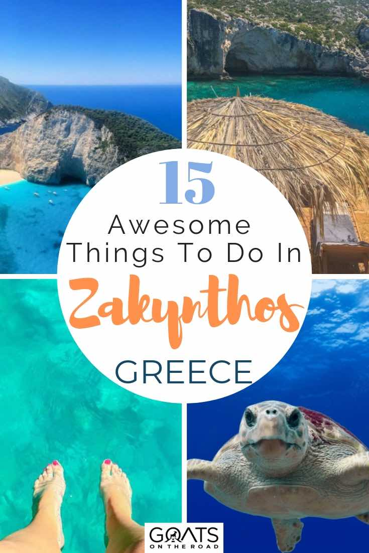 various images of crystal clear water in zakynthos with text overlay 15 awesome things to do in zakynthos