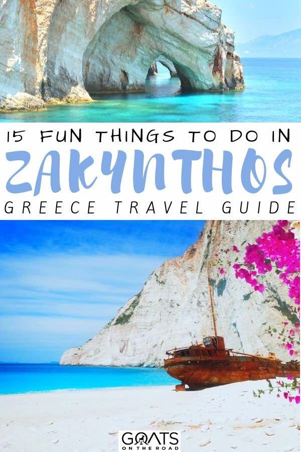 shipwreck cove with text overlay 15 fun things to do in zakynthos