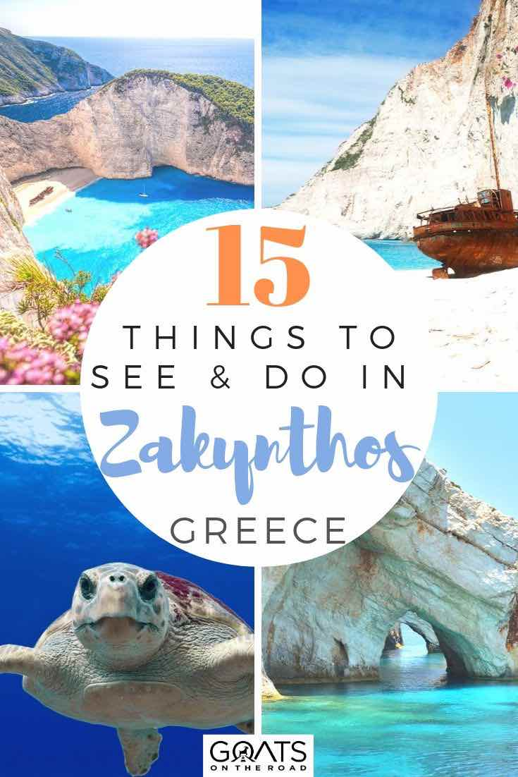 highlights of Zakynthos with text overlay 15 things to see and do