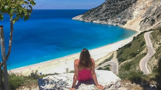 travel to greece visit myrtos beach in kefalonia