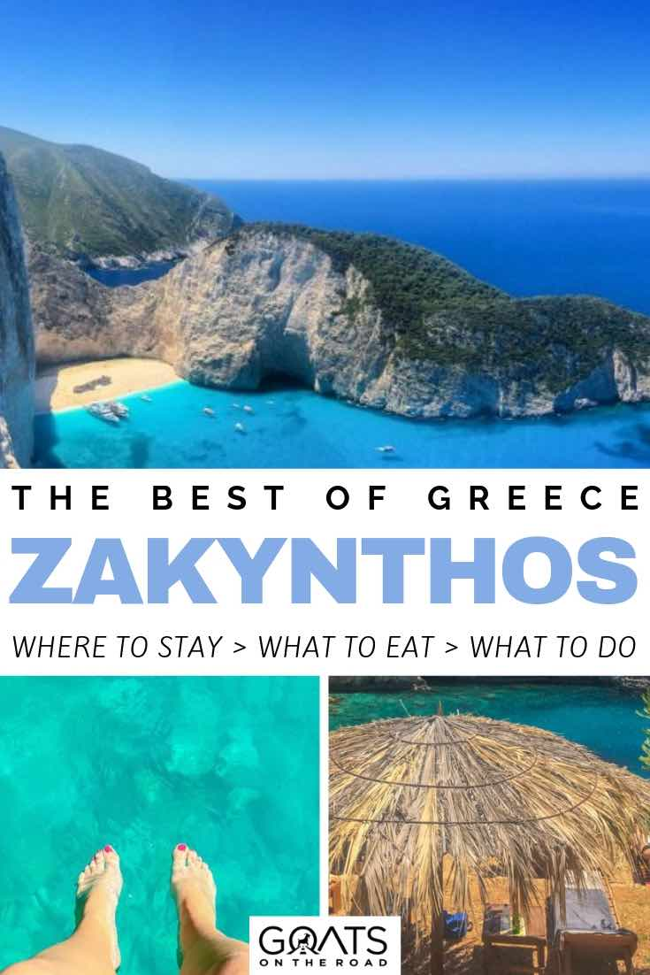 zakynthos headland and crystal blue water with text overlay the best of greece zakynthos