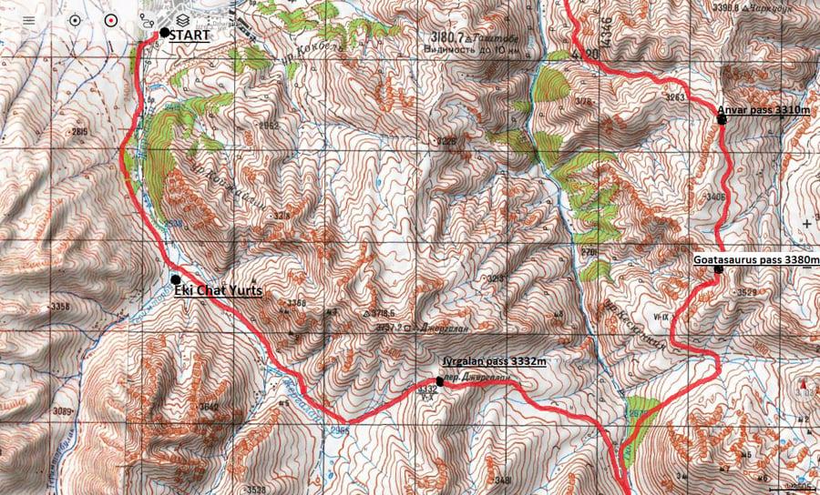 map for trekking keskenkija trek kyrgyzstan