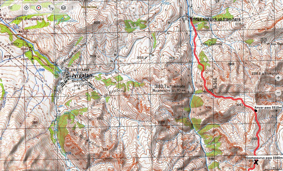 topographical map for trekking jyrgalan kyrgyzstan