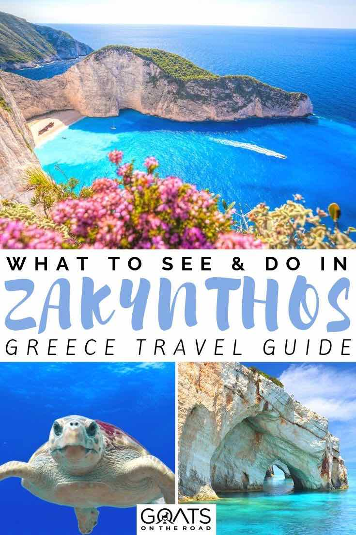 shipwreck cove and turtle with text overlay what to see and do in zakynthos