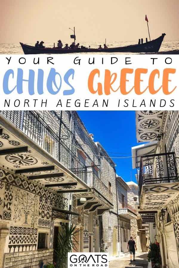 chios streets with text overlay your guide to chios greece