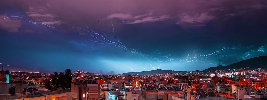weather in greece-lightning-storm-athens