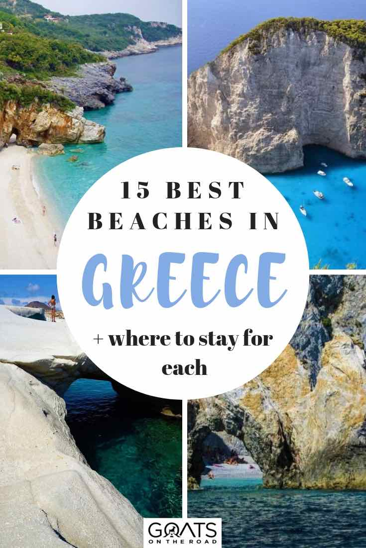 4 different beaches in greece with text overlay