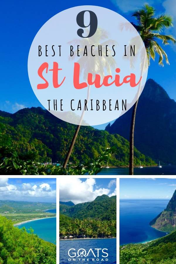 beautiful beaches in St Lucia with text overlay