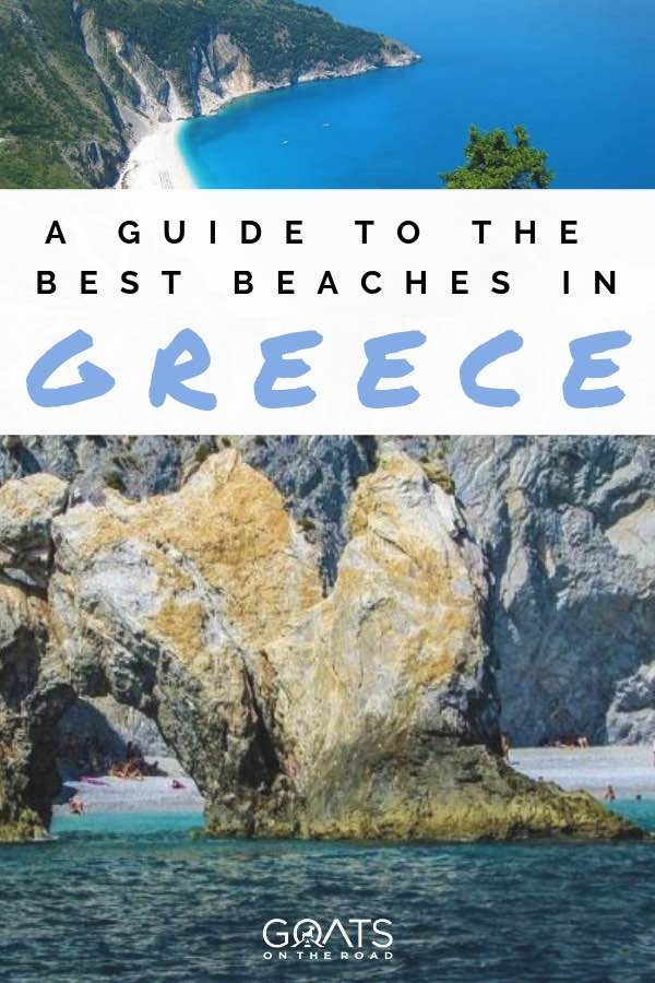 Rocky beach in greece with text overlay