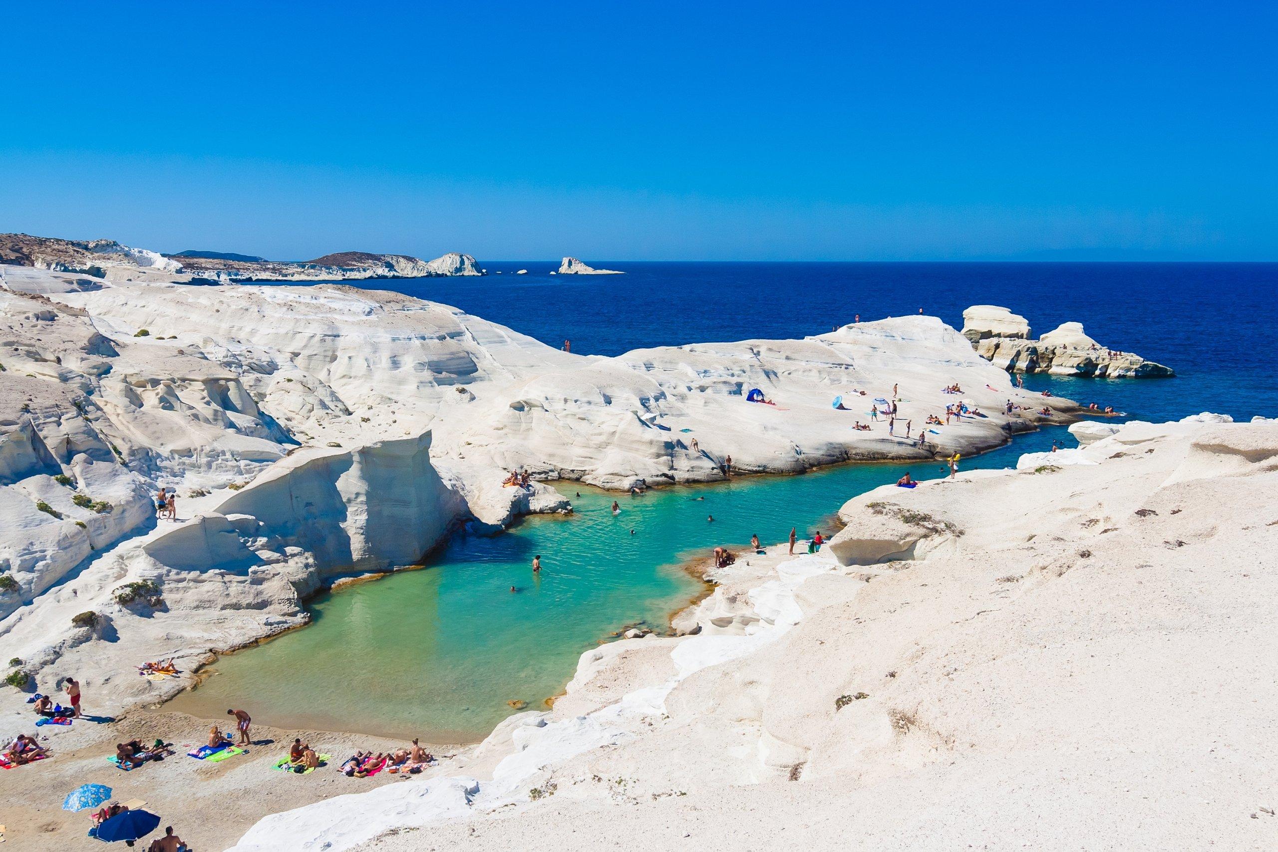 best beaches in greece-Sarakiniko-Beach-Milos