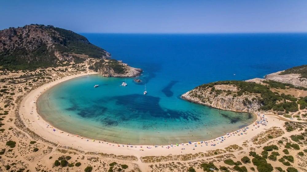 best beaches in greece-Voidokilia-Messinia-beach