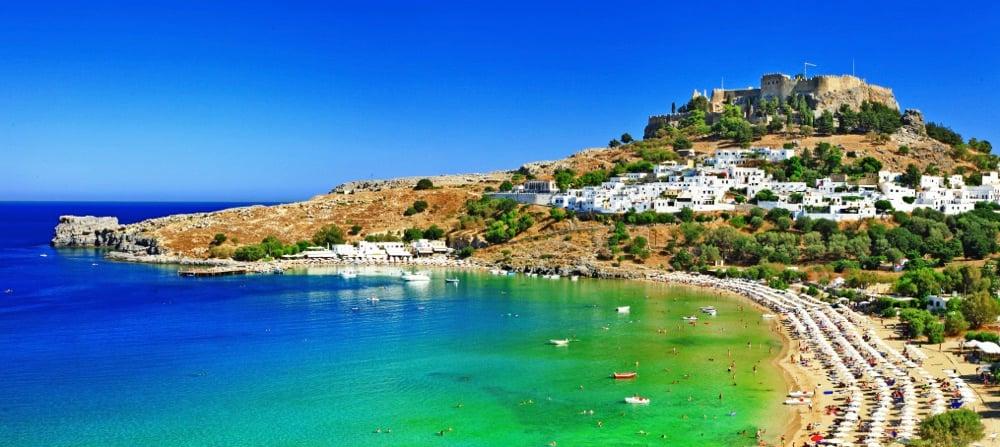 best beaches in greece-lindos-rhodes