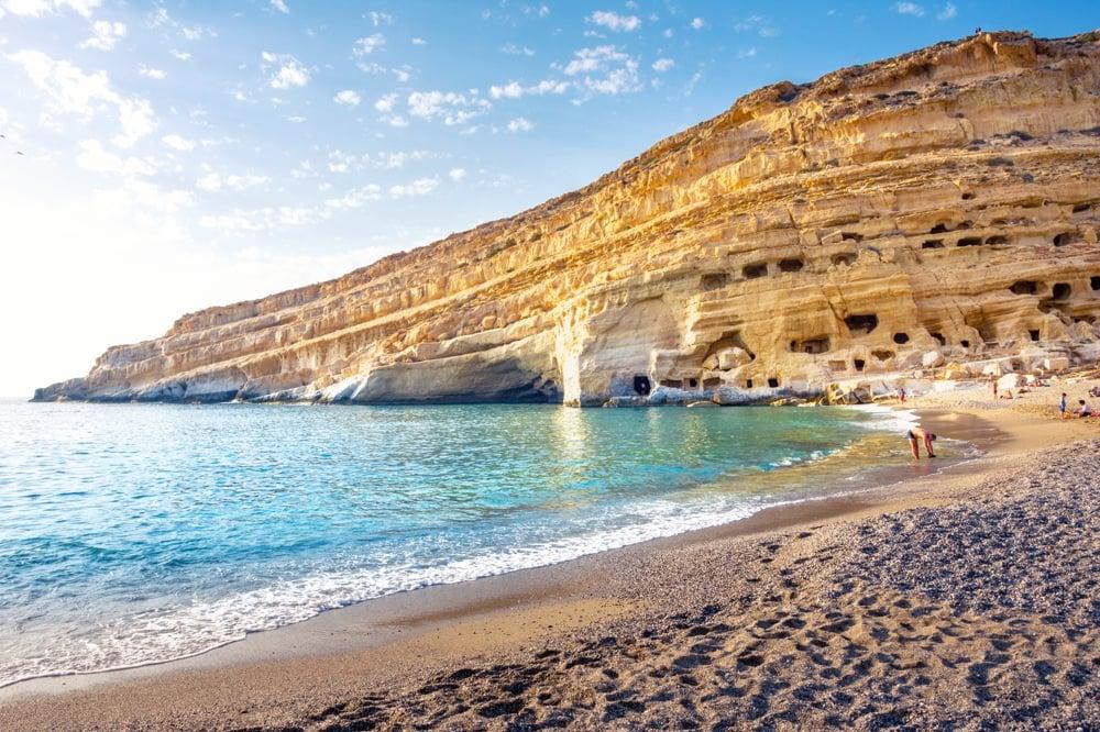 best beaches in greece-Matala-beach-crete