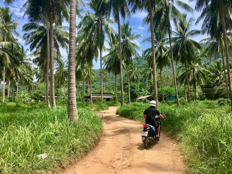 renting a bike on koh samui island which is one of the best places to visit in thailand