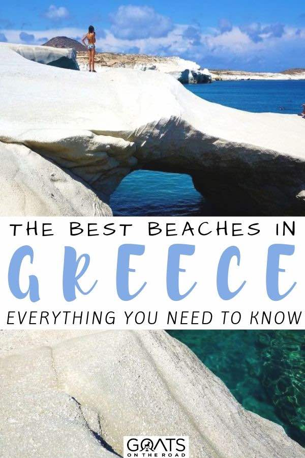 wave sculpted rock with text overlay the best beaches in greece