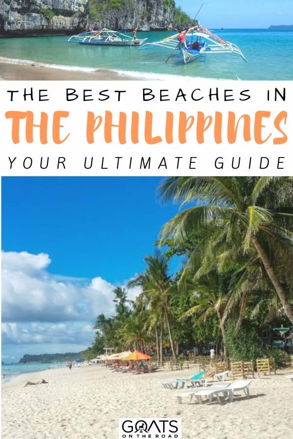 beautiful beach with palm trees with text overlay the beaches in the philippines