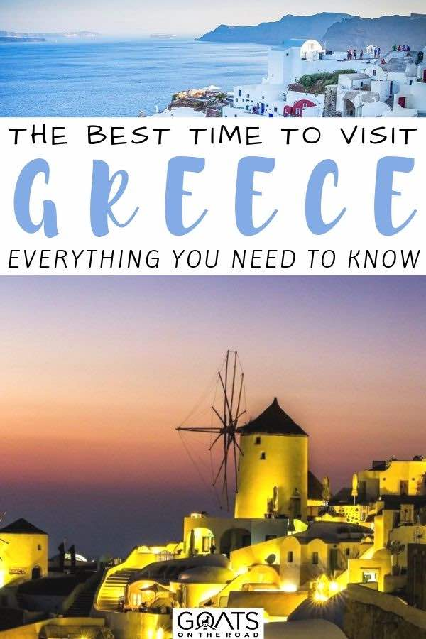 sunset over greece with text overlay the best time to visit greece