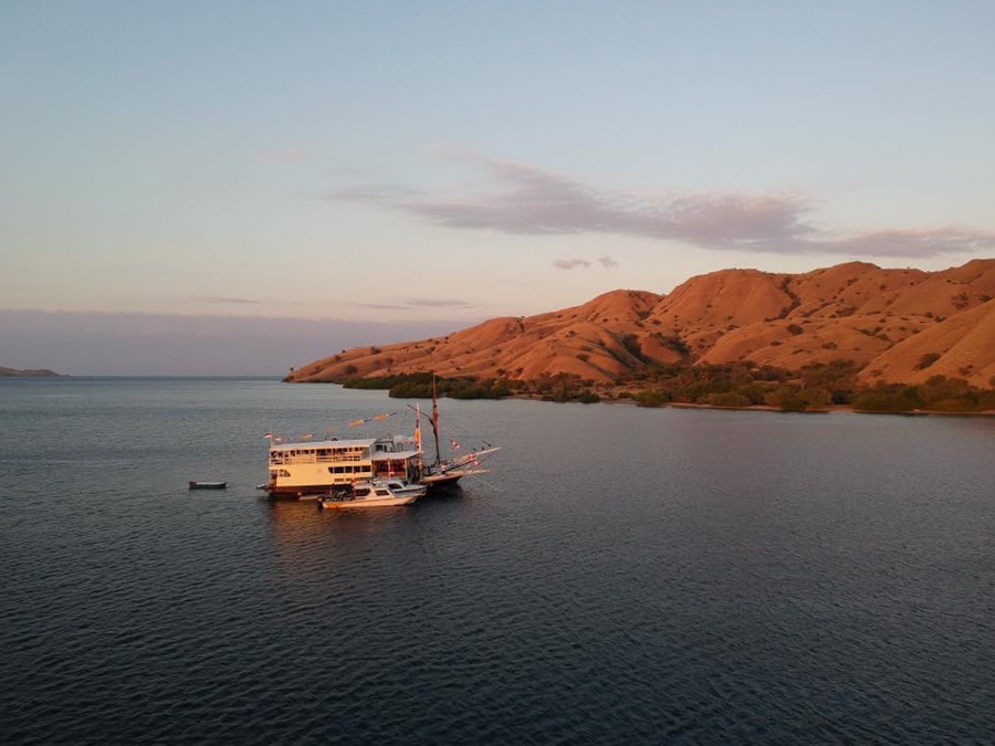 Diving in Komodo Liveaboard Boat Drone