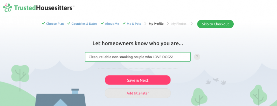 best title for profile in Trusted House Sitters website