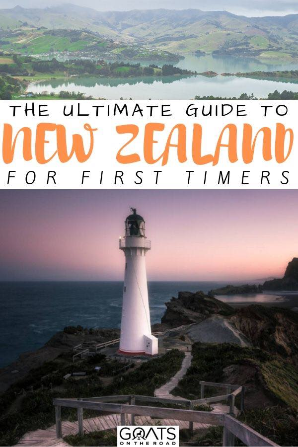 lighthouse with text overlay the ultimate guide to new zealand