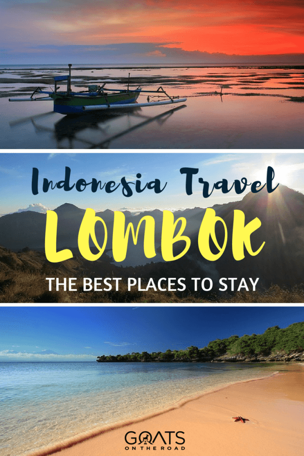 beach and boat in lombok with text overlay