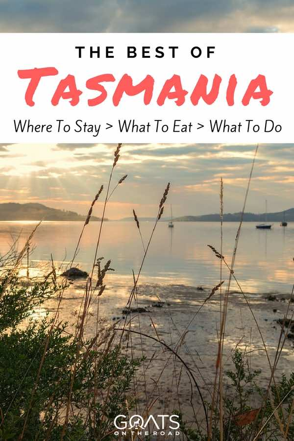 Tasmanian beach with text overlay The Best Of Tasmania