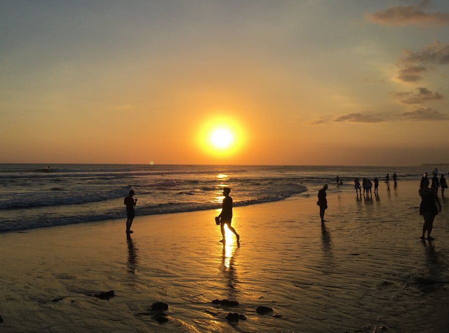 sunset on canggu beach in bali