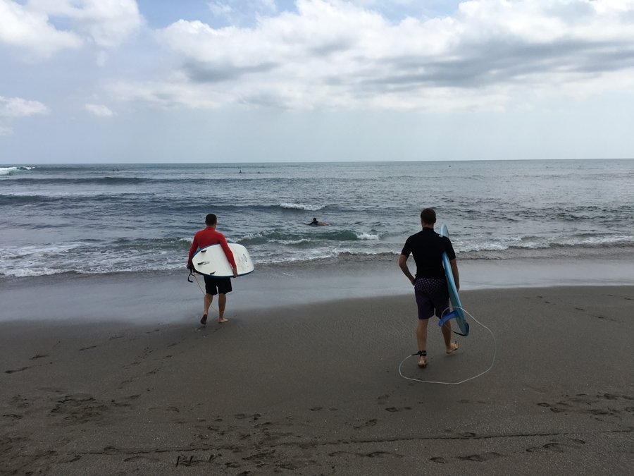 going surfing at canggu beach bali