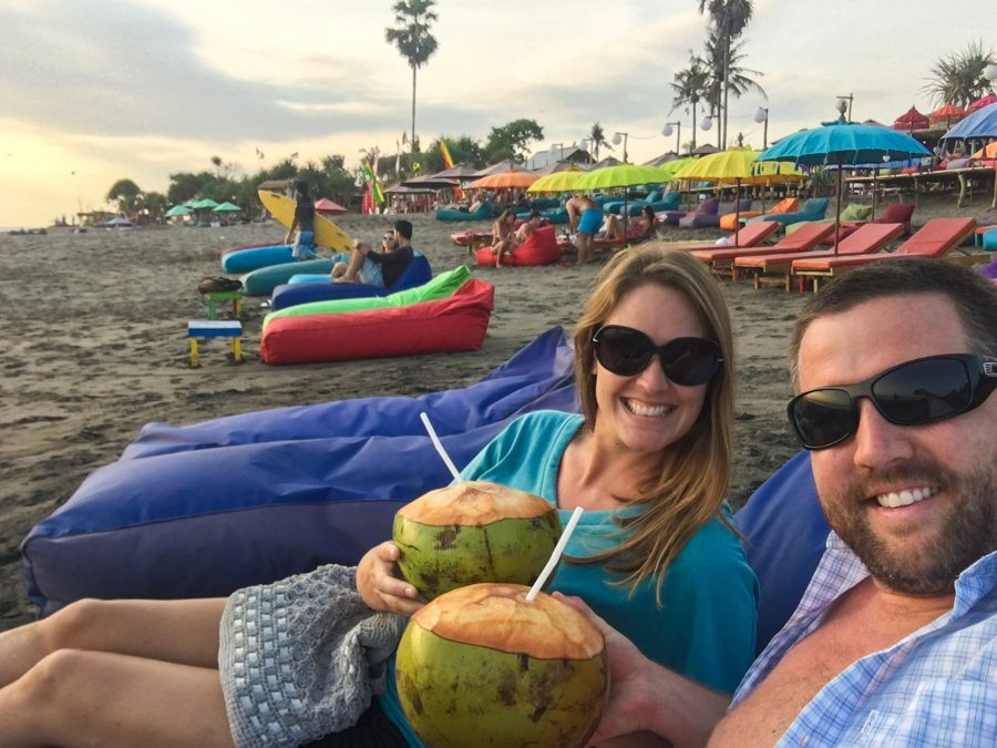 hanging out on bean bags at Berawa Beach canggu bali