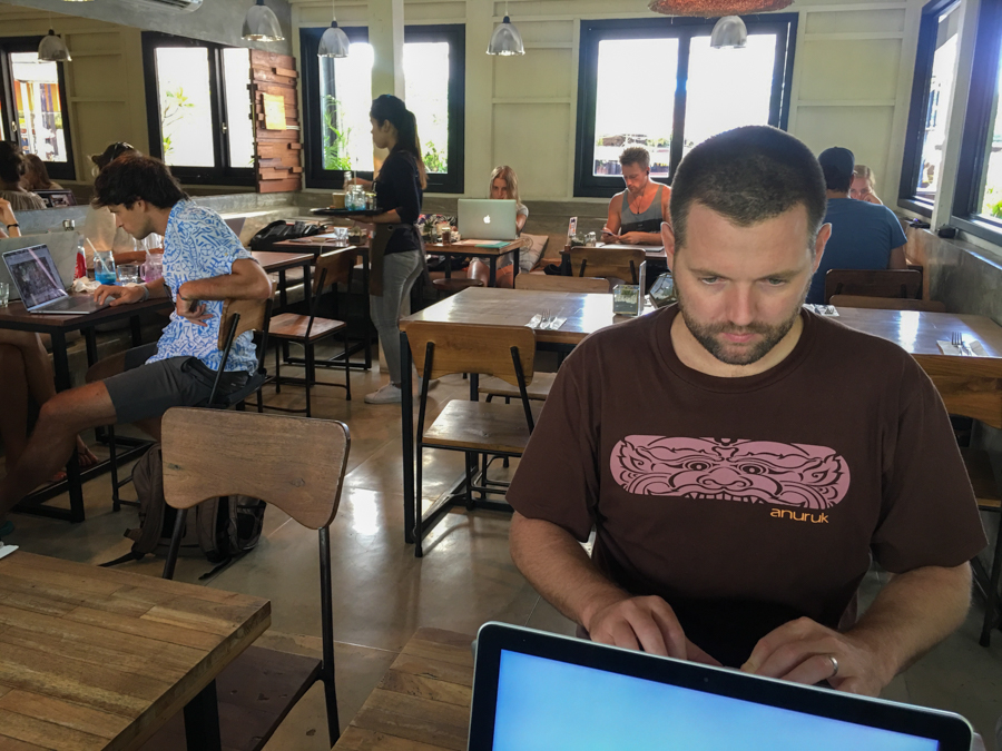 working at nude cafe in canggu bali as a digital nomad