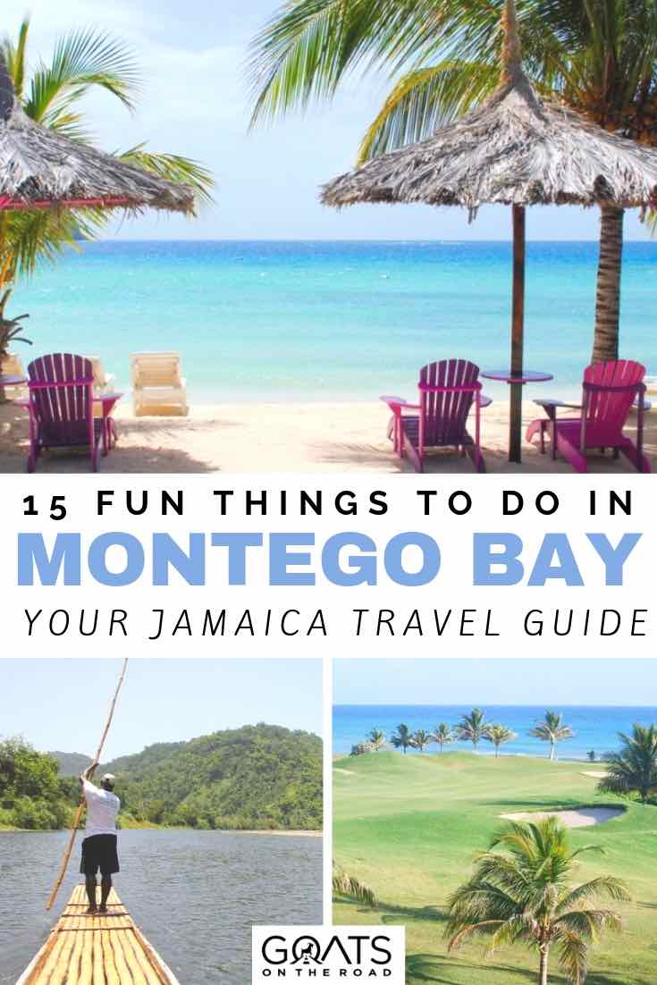 beautiful beach with huts and palm trees on the beach with text overlay 15 fun things to do in montego bay jamaica
