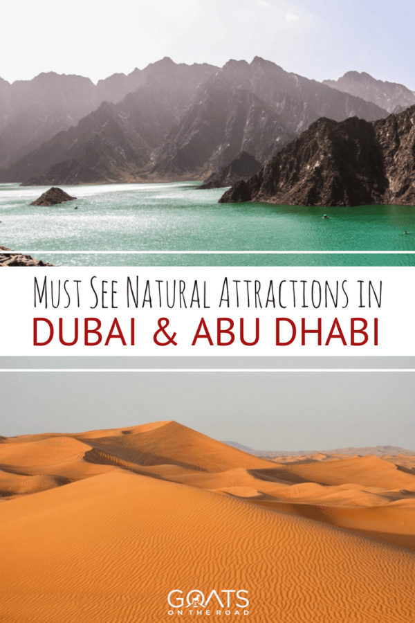 red desert and hatta lake with text overlay must see natural attractions in dubai and abu dhabi