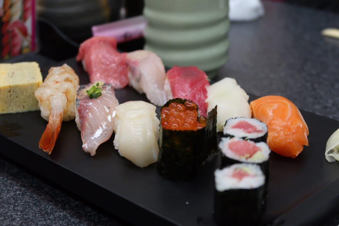 eating sushi in tokyo japan